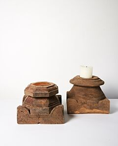Bhadra vintage timber candle stand