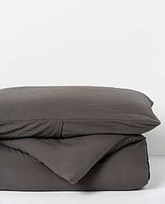 Serra microfibre quilt and pillowcase set - charcoal