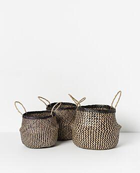 Amara seagrass basket- black/natural