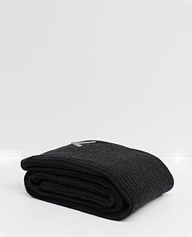 Bemboka Angora & Merino Wide Rib King/Queen Blanket - Charcoal