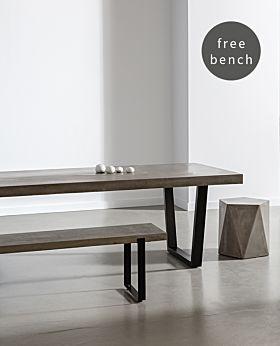 Folio Rectangular Dining Table & Bench Bundle