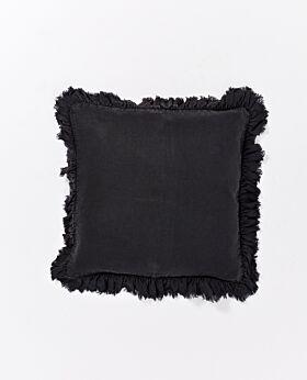 Agnes linen cushion with ruffle edge - black