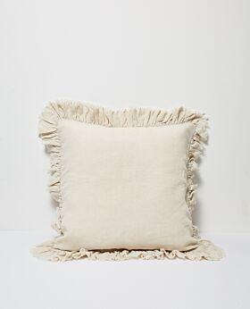 Agnes linen cushion w ruffle edge - flax
