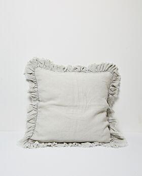 Agnes linen cushion w ruffle edge - periwinkle
