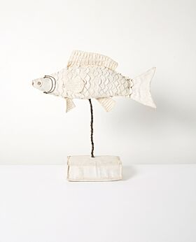 Bedouin fish on stand - upcycled canvas with glass beads - large