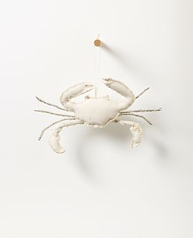 Bedouin hanging crab - upcycled canvas with glass beads