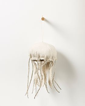 Bedouin hanging jellyfish - upcycled canvas with glass beads