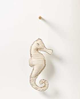 Bedouin hanging seahorse - upcycled canvas with glass beads