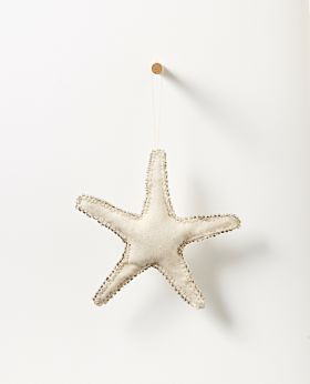 Bedouin hanging starfish - upcycled canvas with glass beads - large