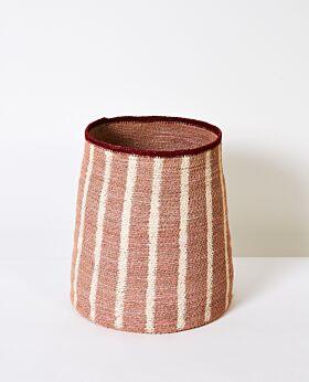 Cali woven basket - blush with white stripes