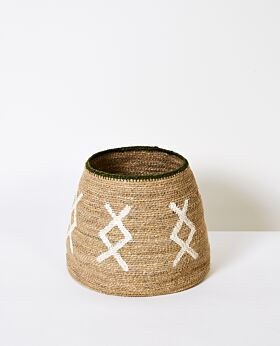 Cali woven basket - natural with green rim