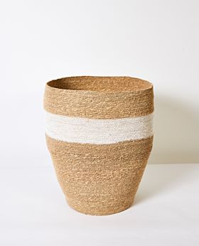 Cali woven basket - natural with white stripe