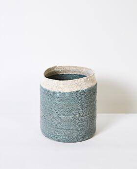 Cali woven basket - ocean with white rim