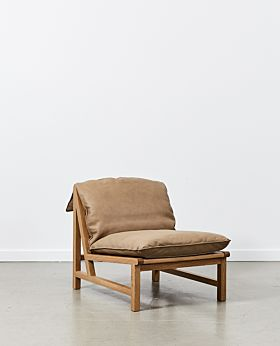 Cantaloupe leather occasional chair - tan