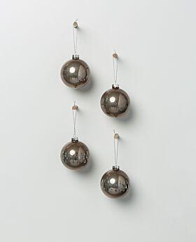 Holiday hanging glass bauble bronze - asst set of 4