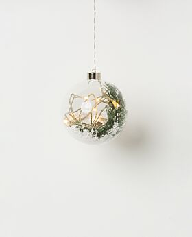 Chestnut hanging glass LED bauble with greenery