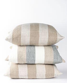Christophe linen cushion - wide stripe mist