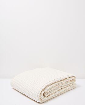 Claude waffle blanket/bedspread queen/king - ecru