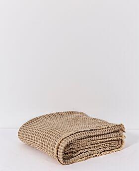 Claude waffle blanket/bedspread - queen/king - mustard