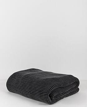 Claude waffle fleece throw & blanket - charcoal