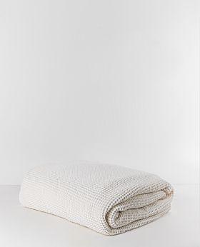 Claude waffle fleece throw & blanket - white