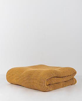 Claude waffle fleece throw - mustard
