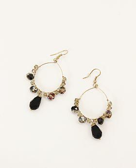 Cosette earrings - black & grey hoop