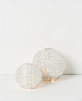 Drift LED crackle glass ball - silver