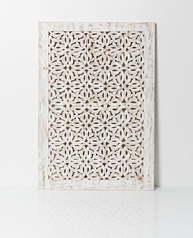 Elora carved panel - white wash