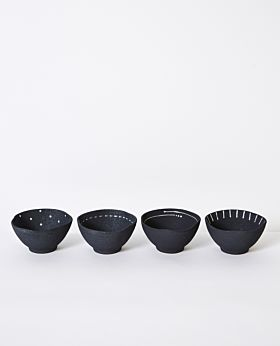 Emiko condiment bowls mini - charcoal - assorted set of 4