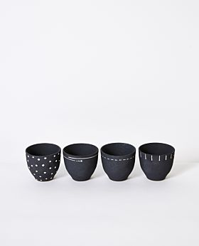 Emiko cups charcoal - assorted set of 4