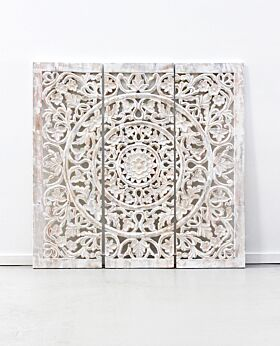 Etienne carved panel whitewash - large - 3 panels