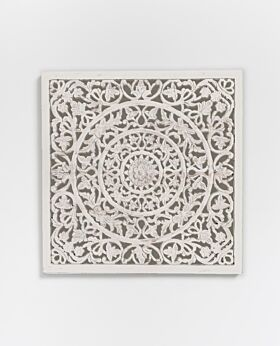Etienne carved panel whitewash - medium