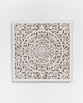 Etienne carved panel whitewash - medium