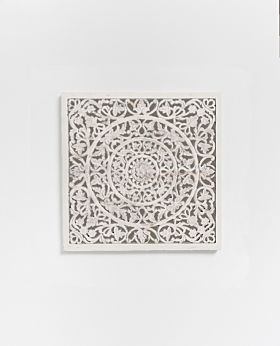 Etienne carved panel whitewash - small