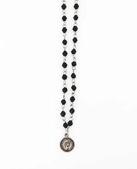 Felice long necklace w coin - silver & black stone