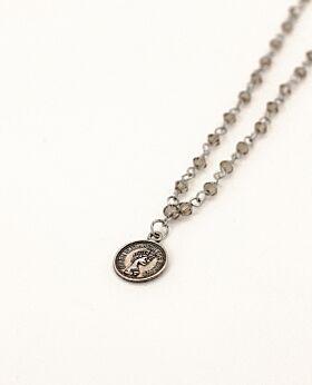 Felice long necklace w coin - silver & grey stone