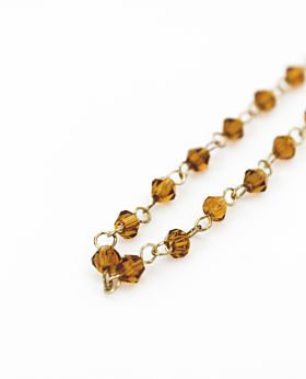 Felice long necklace - gold & sienna stone