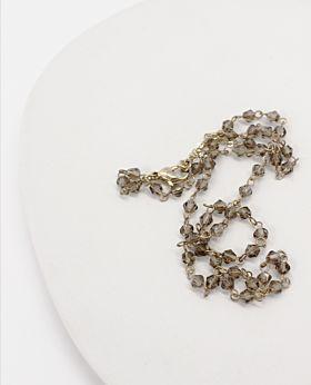 Felice short necklace - gold & grey stone