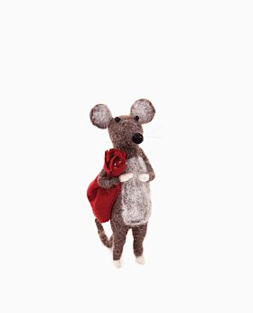 Forest Friends standing mouse w/red sack - lge