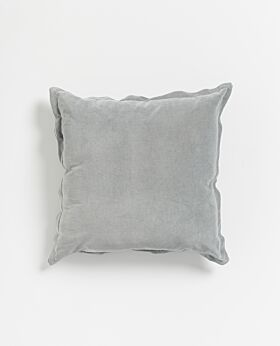 Freya velvet linen cushion- ice blue