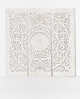 Gisele carved panel - white wash - large - 3 panels