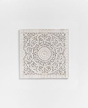 Gisele carved panel - white wash - small