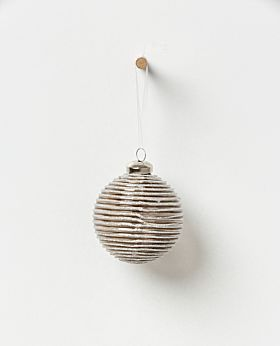 Holiday hanging glass bauble- glitter stripe set of 4