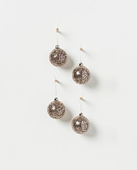 Holiday hanging glass bauble- sequin & silver asst