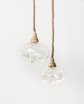 Holiday LED hanging clear glass bauble