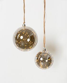 Holiday LED hanging smoky glass ball