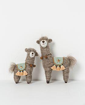 Holiday standing llama with saddle