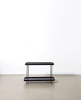 Idaho oak 2 shelf console - black