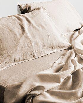 Keira linen flat sheet - queen king - wheat